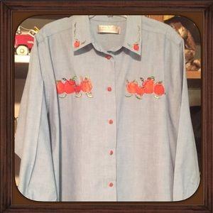 Vintage Denim Shirt with Embroidery Pumpkins